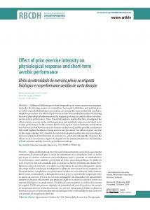Effect of prior exercise intensity on physiological