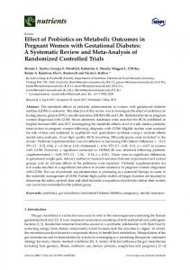 Effect of Probiotics on Metabolic Outcomes in ... - Semantic Scholar