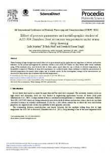 Effect of Process Parameters and Metallographic ... - ScienceDirect