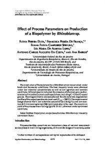 Effect of process parameters on production of a ... - Springer Link