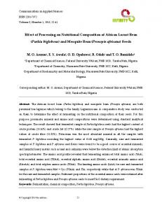 Effect of Processing on Nutritional Composition of African Locust Bean ...