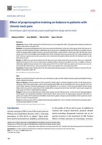 Effect of proprioceptive training on balance in patients ... - JournalAgent