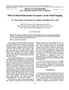 Effect of Pulsed Polarization Parameters on the Nickel ... - Springer Link