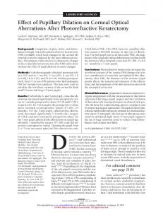 Effect of Pupillary Dilation on Corneal Optical Aberrations After