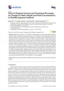 Effect of Regular Exercise and Functional Beverages on ... - MDPI