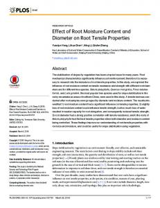 Effect of Root Moisture Content and Diameter on
