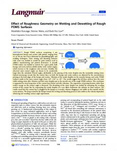 Effect of Roughness Geometry on Wetting and Dewetting of Rough ...