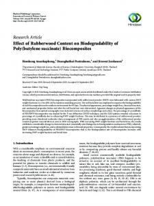 Effect of Rubberwood Content on Biodegradability of Poly (butylene ...