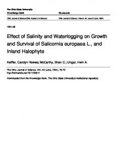 Effect of Salinity and Waterlogging on Growth and ... - Semantic Scholar