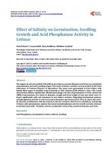 Effect of Salinity on Germination, Seedling Growth and Acid ...
