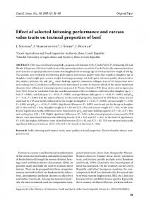 Effect of selected fattening performance and carcass value traits on ...