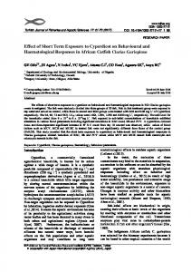 Effect of Short Term Exposure to Cyperdicot on Behavioural and ...