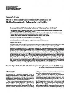 Effect of Simulated Gastrointestinal Conditions on Biofilm Formation by