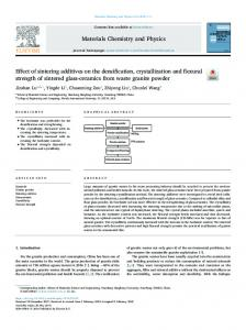 Effect of sintering additives on the densification