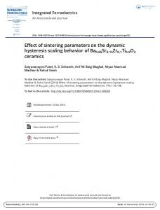 Effect of sintering parameters on the dynamic
