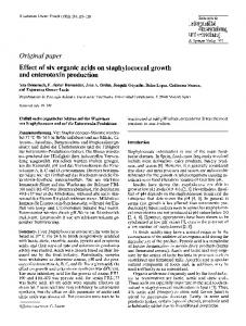 Effect of six organic acids on staphylococcal growth ... - Springer Link