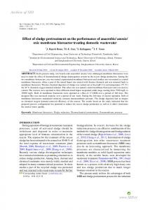 Effect of sludge pretreatment on the performance of anaerobic/anoxic ...