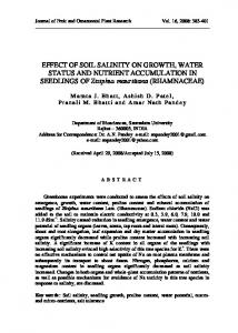 EFFECT OF SOIL SALINITY ON GROWTH, WATER STATUS AND