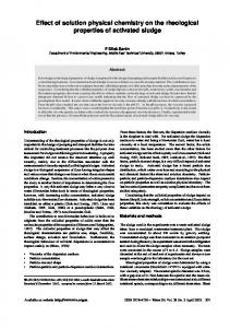 Effect of solution physical chemistry on the rheological properties of ...