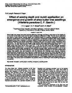 Effect of sowing depth and mulch application on emergence and ...