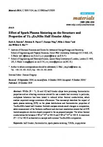 Effect of Spark Plasma Sintering on the Structure and ... - MDPI