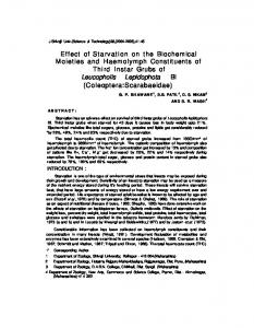 Effect of Starvation on the Biochemical Moieties and ...