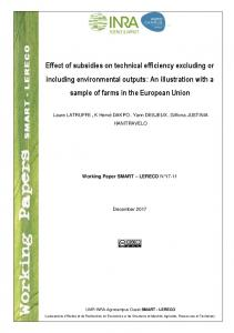 Effect of subsidies on technical efficiency excluding or ...