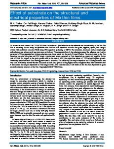 Effect of substrate on the structural and electrical ... - VBRI Press