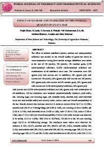 effect of sucrose and stabilizer on the overall quality of guava bar - wjpps