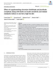 Effect of supplementing chromium histidinate and