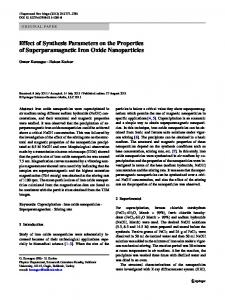 Effect of Synthesis Parameters on the Properties of ... - Springer Link