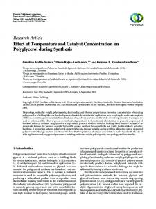 Effect of Temperature and Catalyst Concentration on Polyglycerol ...