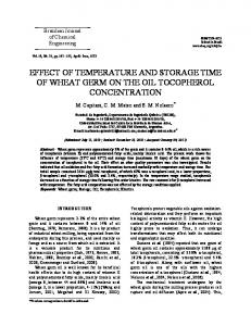effect of temperature and storage time of wheat germ on the oil ...