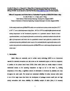 Effect of Temperature and Strain Rate on Mechanical Properties of