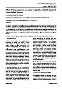 Effect of Temperature on Anaerobic Co-digestion of Cattle dung with ...