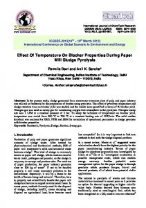 Effect Of Temperature On Biochar Properties During Paper Mill Sludge