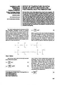 effect of temperature on initial stage of methyl methacrylate free radical