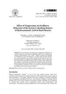 Effect of Temperature on Oscillatory Behaviour of the ... - Hindawi