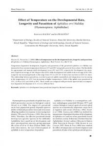 Effect of Temperature on the Developmental Rate, Longevity and ...