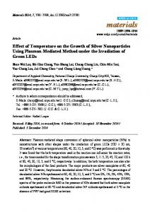 Effect of Temperature on the Growth of Silver Nanoparticles Using ...