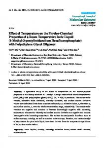 Effect of Temperature on the Physico-Chemical