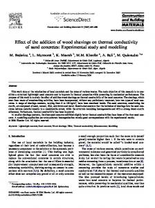 Effect of the addition of wood shavings on thermal conductivity