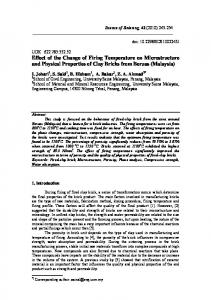 Effect of the Change of Firing Temperature on Microstructure - doiSerbia