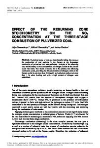 Effect of the Reburning Zone Stoichiometry on the Nox Concentration ...