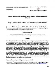 Effect of theobromine on serum total protein, albumin, iron ... - TSpace