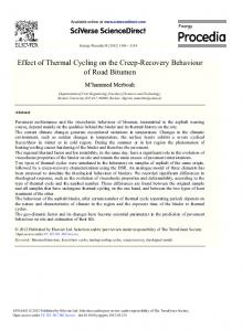 Effect of Thermal Cycling on the Creep-Recovery ... - Science Direct