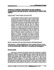 effect of thermal treatment on the chemical ... - BioResources