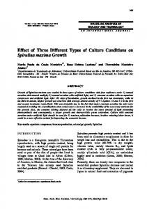 Effect of Three Different Types of Culture Conditions on ... - SciELO