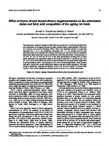 Effect of thyme oil and thymol dietary supplementation on the ...