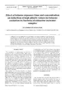 Effect of toluene exposure time and concentration on ... - Inter Research
